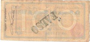 reverse: Banconote. Banca Del Monte di Milano. Assegno 100 Lire 1944. BB+. Strappi. Falso d epoca.