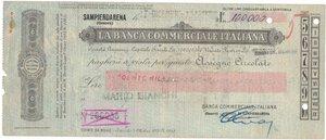 obverse: Banconote. Banca Commerciale Italiana. Assegno 100.000 Lire 1943. BB+. Strappi e pieghe. Elevatissimo importo per l epoca.