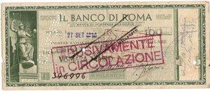 obverse: Banconote. Banco di Roma. Assegno 100 Lire 1944. qBB. Conservazione naturale. Strappi e pieghe.