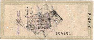 reverse: Banconote. Banco di Roma. Assegno 100 Lire 1944. qBB. Conservazione naturale. Strappi e pieghe.