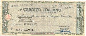 obverse: Banconote. Credito Italiano. Assegno 10.000 Lire 1945. SPL+. Elevato importo per l epoca.
