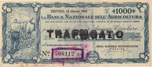 obverse: Banconote. Banca nazionale dell Agricoltura. Assegno taglio fisso. 1.000 Lire 1945. BB. Sovrastampato. Circolato come cartamoneta.