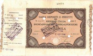 obverse: Banconote. Regno d Italia. C. D. P. Buono da 5.000 Lire 1946. qSPL. Piega.