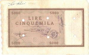 reverse: Banconote. Regno d Italia. C. D. P. Buono da 5.000 Lire 1946. qSPL. Piega.