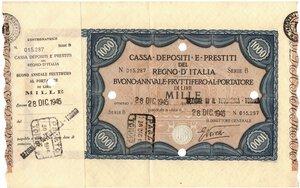 obverse: Banconote. Regno d Italia. C. D. P. Buono da 1.000 Lire 1945. qSPL. Piega.