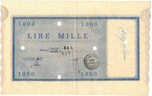 reverse: Banconote. Regno d Italia. C. D. P. Buono da 1.000 Lire 1945. qSPL. Piega.