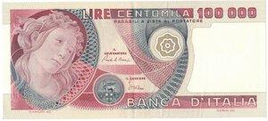 obverse: Banconote. Repubblica Italiana. 100.000 Lire Botticelli. Dec. Min. 10 Maggio 1982.