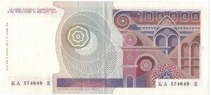 reverse: Banconote. Repubblica Italiana. 100.000 Lire Botticelli. Dec. Min. 10 Maggio 1982.
