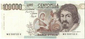 obverse: Banconote. Repubblica Italiana. 100.000 Lire Caravaggio I° Tipo. 1990. Gig. BI84 D.