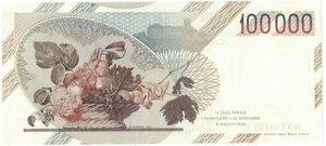 reverse: Banconote. Repubblica Italiana. 100.000 Lire Caravaggio I° Tipo. 1990. Gig. BI84 D.