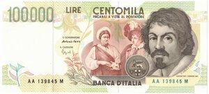 obverse: Banconote. Repubblica Italiana. 100.000 Lire Caravaggio II° Tipo. Dec. Min. 12/05/1994.