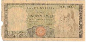 obverse: Banconote. Repubblica Italiana. 50.000 Lire Leonardo. D.M. 19 Luglio 1970. Gig. BI78B2. MB. Falso d epoca.