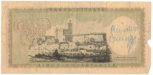 reverse: Banconote. Repubblica Italiana. 50.000 Lire Leonardo. D.M. 19 Luglio 1970. Gig. BI78B2. MB. Falso d epoca.