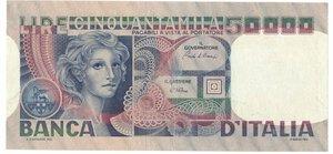 obverse: Banconote. Repubblica Italiana. 50.000 Lire Volto di Donna. Dec. Min. 11 Aprile 1980.
