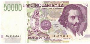 obverse: Banconote. Repubblica Italiana. 50.000 Lire Bernini II° Tipo. 1992. Gig. BI81B.