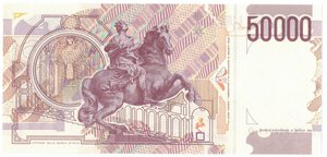 reverse: Banconote. Repubblica Italiana. 50.000 Lire Bernini II° Tipo. 1992. Gig. BI81B.