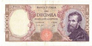 obverse: Banconote. Repubblica Italiana. 10.000 lire Michelangelo. Dec. Min. 27 luglio 1964.