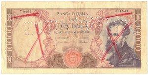 obverse: Banconote. Repubblica Italiana. 10.000 Lire Michelangelo. Dec. Min. 27 Novembre 1973. Gig BI 74H. Falso d epoca con annullo.