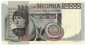 obverse: Banconote. Repubblica Italiana. 10.000 lire Del Castagno. Dec. Min. 30-10.1976.