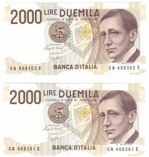 obverse: Banconote. Repubblica Italiana. 2.000 Lire Guglielmo Marconi. Lotto di 2 pezzi consecutivi. Dec. Min. 20-10-1990.