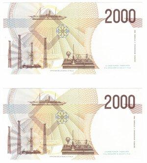 reverse: Banconote. Repubblica Italiana. 2.000 Lire Guglielmo Marconi. Lotto di 2 pezzi consecutivi. Dec. Min. 20-10-1990.