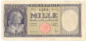 obverse: Banconote. Repubblica Italiana. 1.000 Lire Italia Testina. Dec. Min. 20-03-1947.