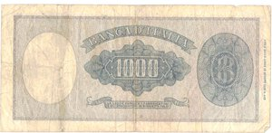 reverse: Banconote. Repubblica Italiana. 1.000 Lire Italia Testina. Dec. Min. 20-03-1947.