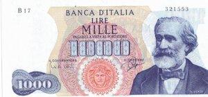 obverse: Banconote. Repubblica Italiana. 1.000 Lire Verdi I° Tipo. Dec. Min. 05-07-1963.