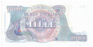 reverse: Banconote. Repubblica Italiana. 1.000 Lire Verdi I° Tipo. Dec. Min. 05-07-1963.