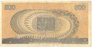 reverse: Banconote. Repubblica Italiana. 500 Lire Aretusa. Falso D epoca con Annullo.