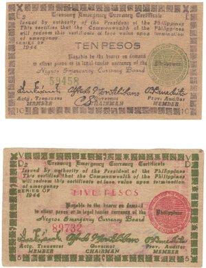 obverse: Banconote. Estere. Filippine. Occupazione. 5 + 10 Pesos. BB+. Strappetti e scritte.