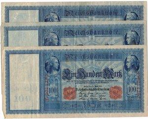 obverse: Banconote. Estere. Germania. Lotto di 3 pezzi da 100 Reichmark 1910.