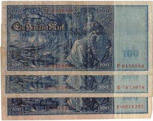 reverse: Banconote. Estere. Germania. Lotto di 3 pezzi da 100 Reichmark 1910.