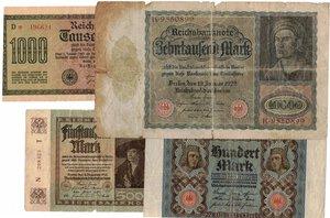 obverse: Banconote. Estere. Germania. Lotto di 8 pezzi di Reichmark, vari nominali.