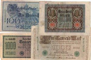 reverse: Banconote. Estere. Germania. Lotto di 8 pezzi di Reichmark, vari nominali.