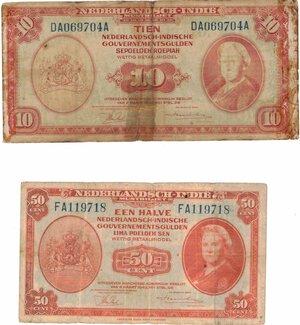 obverse: Banconote. Estere. Indie Olandesi. 5 Centesimi, 10 Gulden. qBB. Strappetti e pieghe.