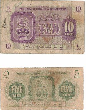 obverse: Banconote. Estere. Tripolotania. Occupazione. 5 + 10 Lire. MB. Strappetti e scritte.