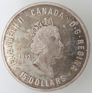 obverse: Canada.Elisabetta II.15 Dollari 1992. Ginnastica. AG 925.