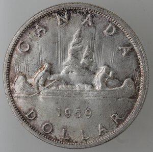 reverse: Canada.Elisabetta II.Dollaro 1959. AG 800.