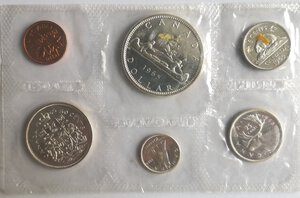 reverse: Canada. Elisabetta II. Divisionale 1965. Con dollaro in Ag.
