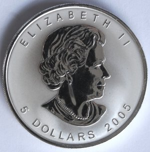 obverse: Canada. Elisabetta II. 5 Dollari 2005. Ag 999.
