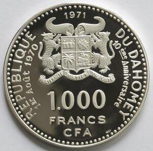 obverse: Dahomey. 1.000 Franchi 1971. Ag 999.
