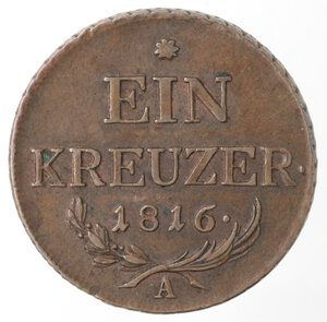 reverse: Austria. Francesco II. 1792-1835.kreuzer 1816 A. Ae. Zecca Vienna.