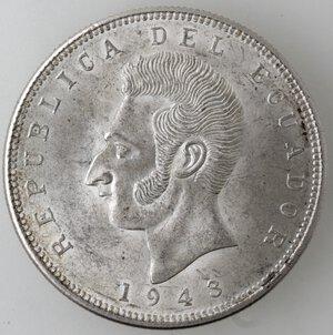 obverse: Ecuador. Repubblica. 5 Sucres 1943. Ag. Zecca di Citta del Messico.