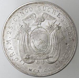 reverse: Ecuador. Repubblica. 5 Sucres 1943. Ag. Zecca di Citta del Messico.