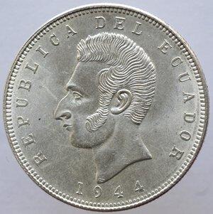 obverse: Ecuador. Repubblica. 5 Sucres 1944. Ag. Zecca di Citta del Messico.