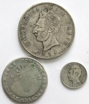 obverse: Ecuador. Lotto di 3 pezzi. Ag.