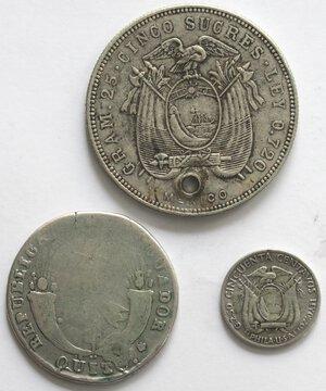 reverse: Ecuador. Lotto di 3 pezzi. Ag.