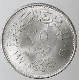 reverse: Egitto. President Nasser. 25 Piastre 1970. Ag 720.