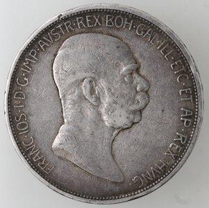 obverse: Austria. Francesco Giuseppe. 1848-1916. 5 Corone celebrative per il 60° anno di regno 1848-1908. Ag.